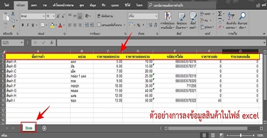 การนำเข้าข้อมูลสินค้าด้วยไฟล์ Excel