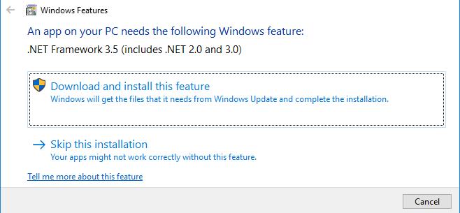 ต้องมี .NET Framework ใน windows